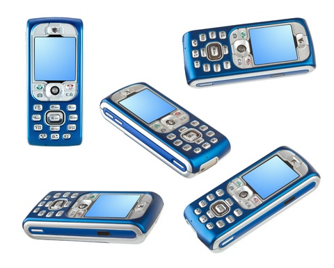 Set of blue mobile phones