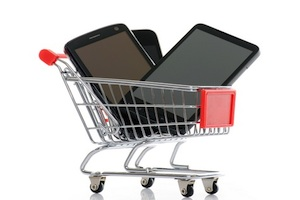 Phone in a shopping trolley