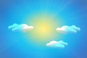 Sky background with sun clouds and rainbow