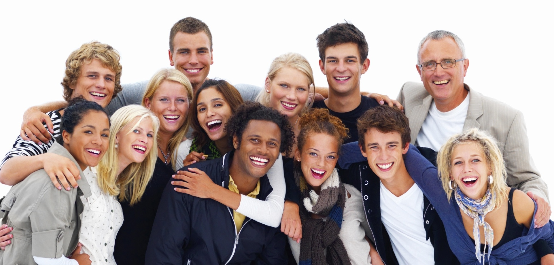 Group of happy friends against white background