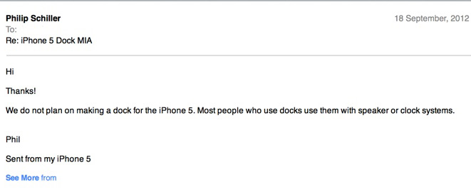 Apple's VP of Marketing, Says No Dock For iPhone 5