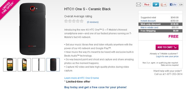 The HTC One S Black Now at T-Mobile – Free Gift Included