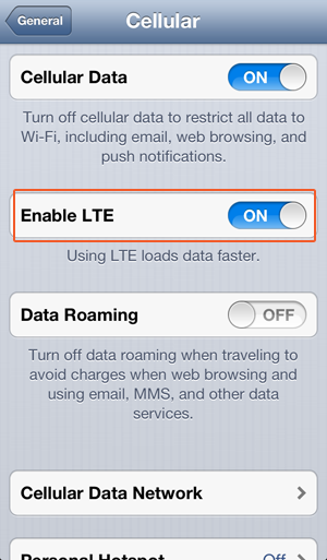 Disable LTE