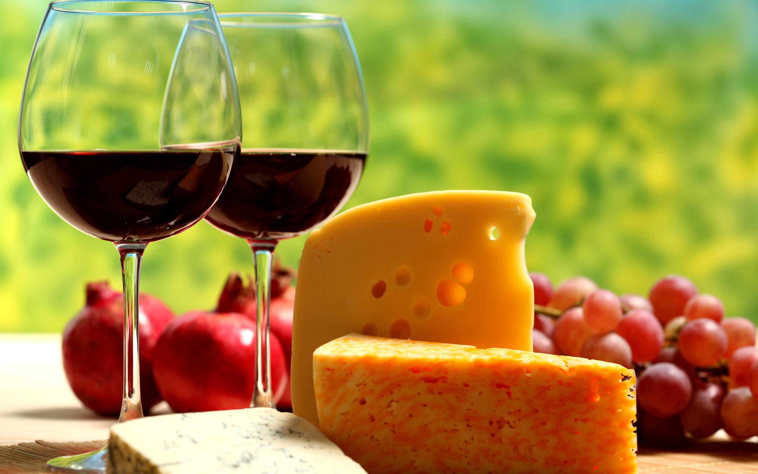 red wine glasses and cheese