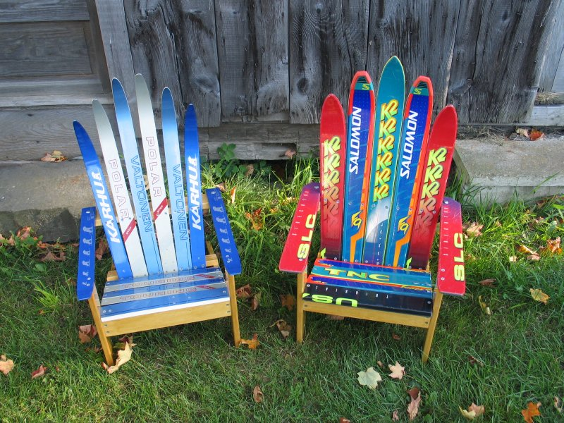 recycled skis chairs