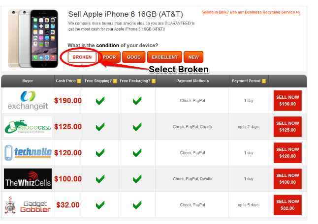 Step 2 to selling a broken cell phone