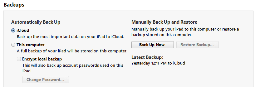 Using iCloud to backup