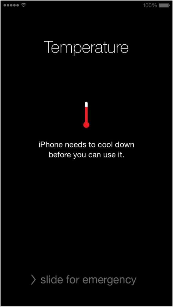 The warning message shown on iOS devices when they are too hot
