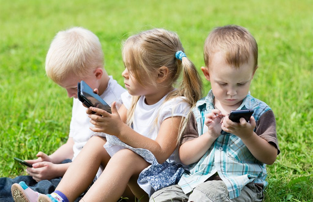 Children Using Phones