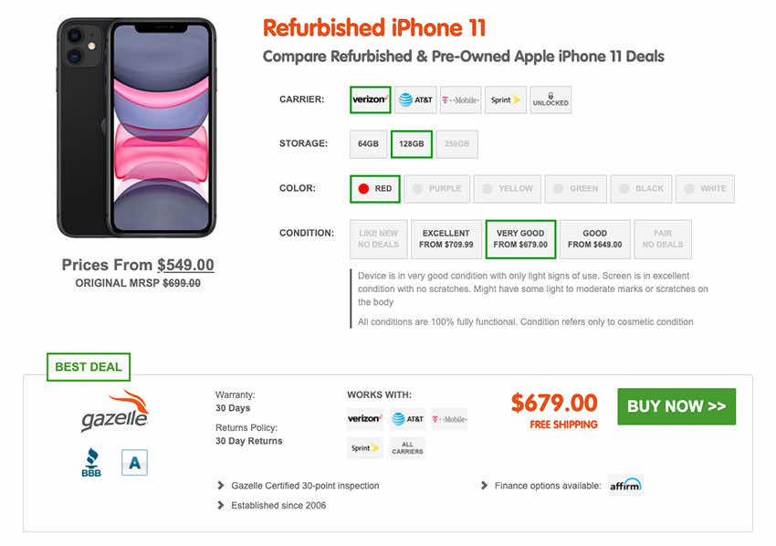 SellCell.com Refurbished iPhone 11