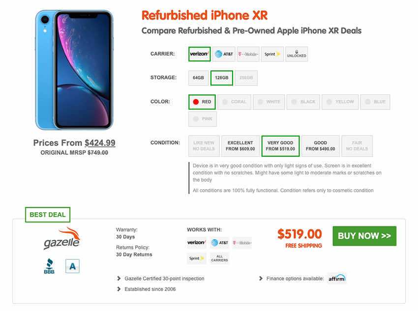 SellCell.com Refurbished iPhone XR