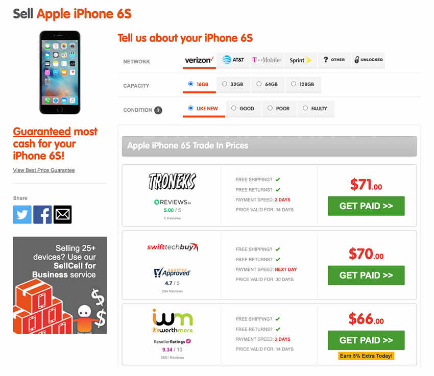 Trade In iPhone 6S with SellCell.com