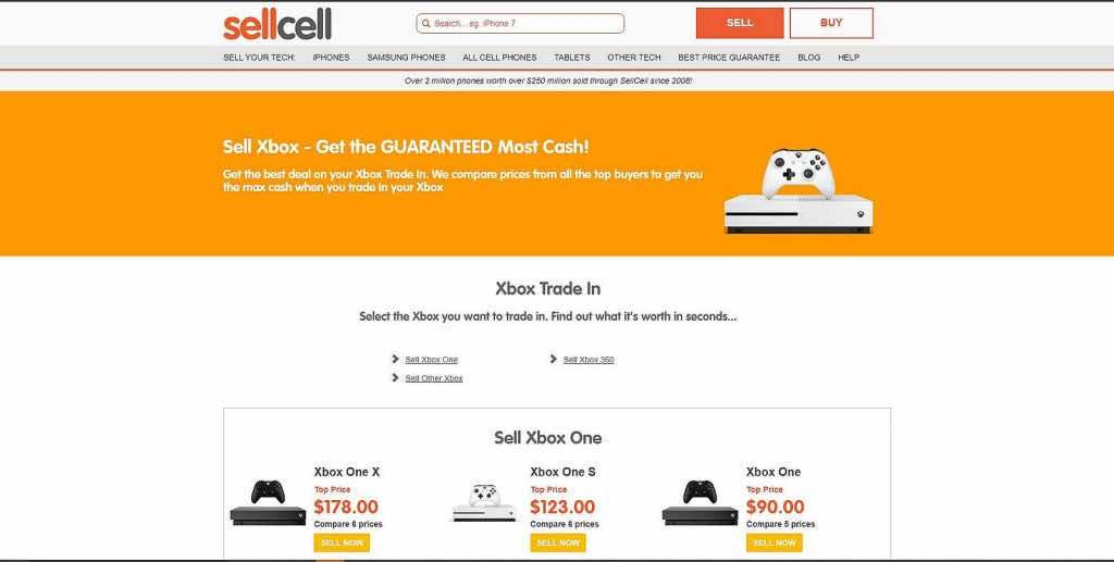 sellcell xbox trading page