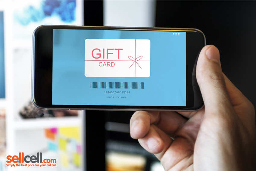 Phone displaying a digital gift card