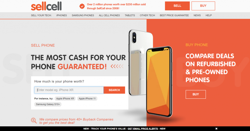 Price Alert Signup via SellCell home page